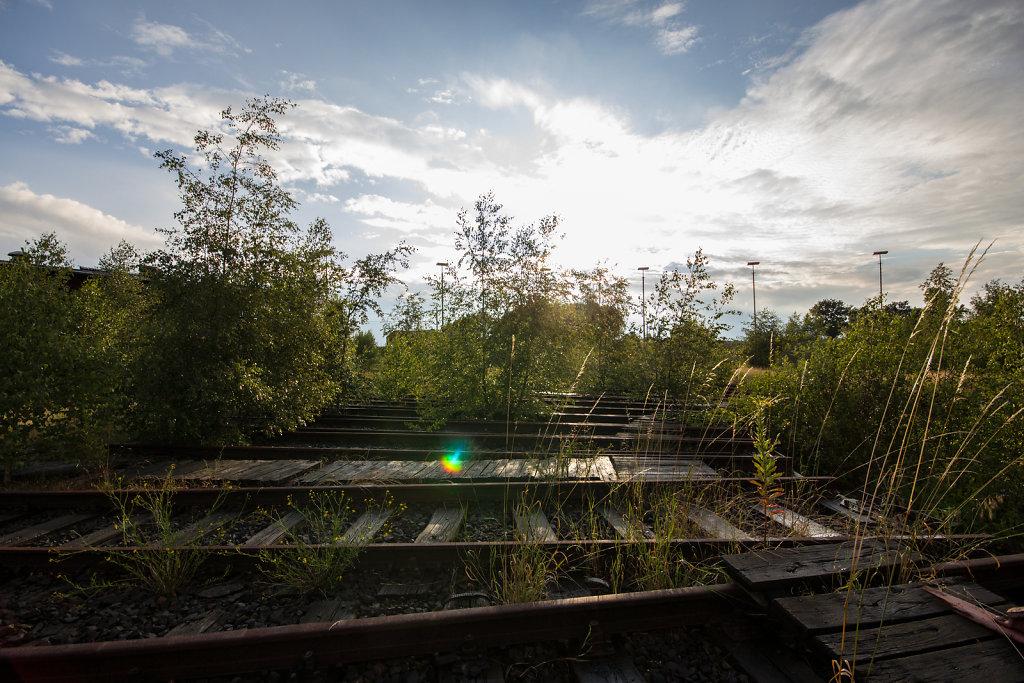 Abstellbahnhof Lehe: Sonnenuntergang